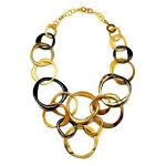 Q5259 WATER BUFFALO HORN VARIED SIZED CIRCLES NECKLACE