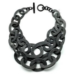 Q11731WATER BUFFALO HORN UNPOLISHED LAYERED  NECKLACE