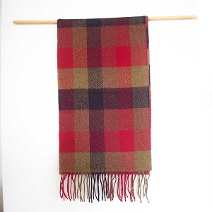 Irish Lambs Wool Scarf- Red Check